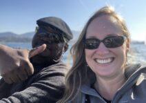 Daniel & Melissa on a boat on Lake Geneva in Switzerland