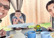 Enjoying a lovely summer outdoor breakfast with our host child