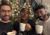 Enjoying home made hot chocolate with our niece on the holidays.