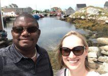 Daniel & Melissa visiting beautiful Peggy's Cove, Nova Scotia