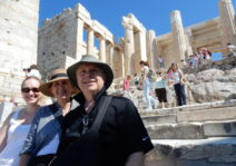 Melissa & her mom and dad in Athens, Greece