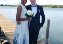 Wedding picture by the Wolfe Island dock