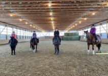 Kim, Violet and Willamena with aunt Rebekah at Riding lessons; Dec 2020