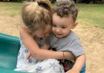 Asher with one of his many friends at our camping park!