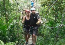 Ziplining through the Belizean rainforest.