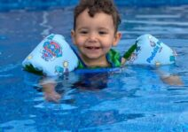 Asher loves to swim and doing great in his swimming lessons