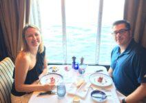 Enjoying dinner on our honeymoon cruise through the Mediterranean.