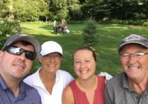 Spending time with Lindsay's parents on the golf course.