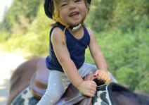 Alma's first horseback ride. Brave girl. We love giving her opportunities to grow.