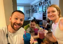 We eat healthfully (in moderation!) and Brad makes us a delicious smoothie most mornings.