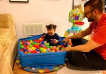 Dreary days are never boring! We have a swing, a slide and a ball pit in our basement!