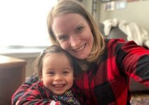 Matching comfies and big smiles for a cozy day at home!