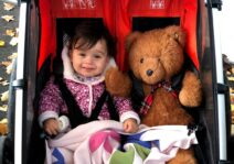 Our stroller is built for two and sometimes a teddy keeps our daughter company!