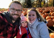 Visiting a pumpkin patch for apple cider and a pumpkin to carve for Halloween!