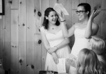 Sharing a laugh at our wedding thank you speech in Cantley, Quebec in August 2015.