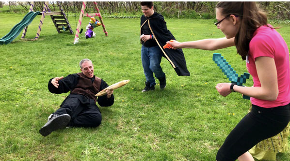 Backyard sword play with the niece and nephew. Rob will LARP just about anywhere!