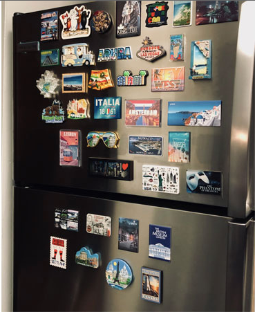 Adrian's fridge magnet collection from around the world--it's an affordable souvenir!