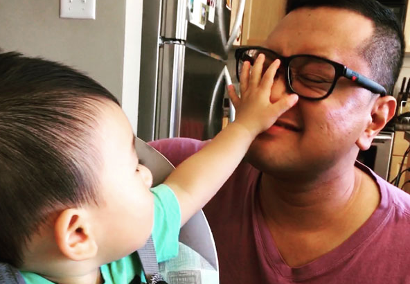 Adrian gets a high-five from his nephew