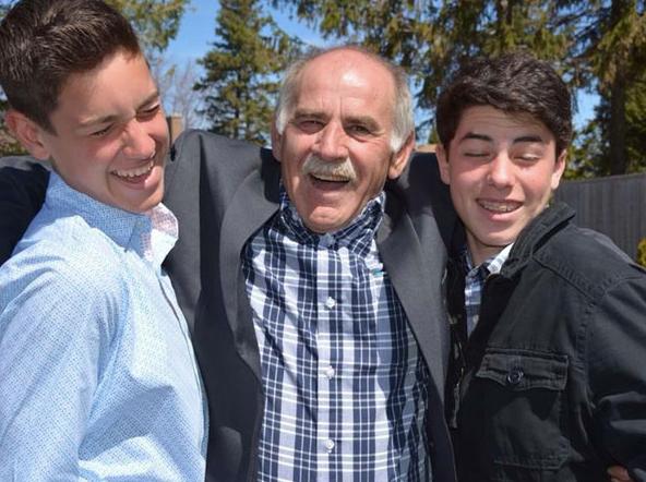 Nonno (Grandfather in Italian) with his grandsons - our son (Antonio) and Dom (Nephew). Al