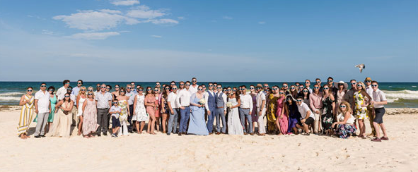 Seventy of our closest friends and family at our wedding in Mexico