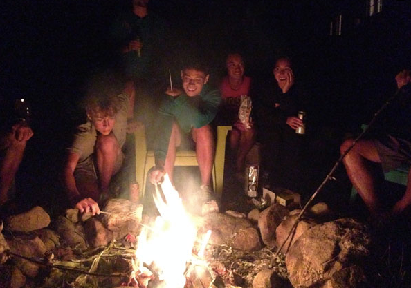 Bonfire at the cottage with family and friends