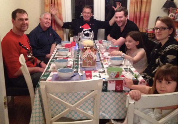 A traditional family Christmas dinner.