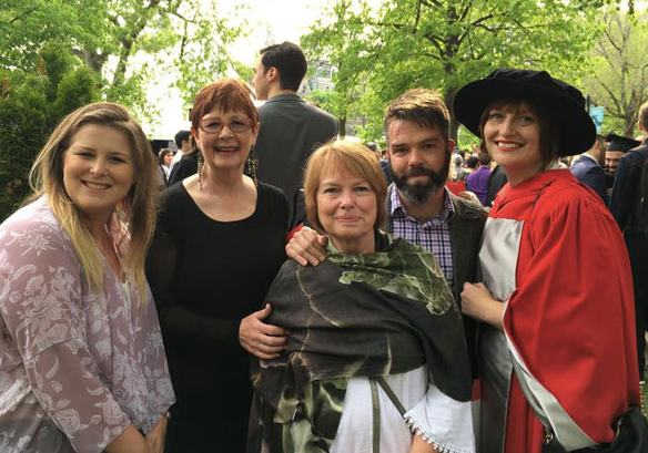 Eliza's McGill PhD graduation with our moms and a very good friend, 2019