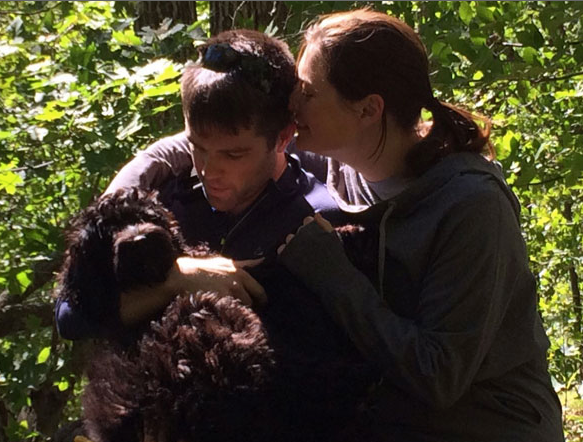 Eliza and Kenneth with a young Roxie in Gatineau Park, 2016