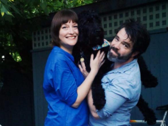 Family portrait on our deck, 2020