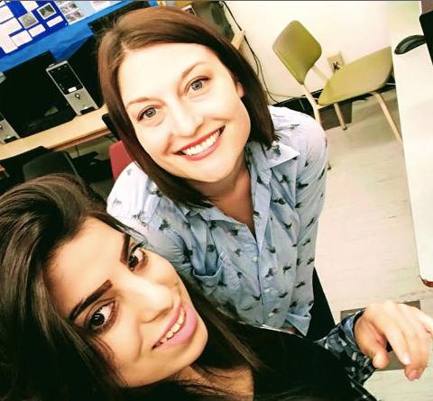 Eliza with one of her students at the Ottawa Adult High School, 2017