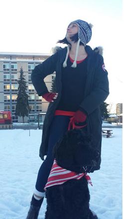 Eliza and Roxie posing for Ottawa winter, 2017