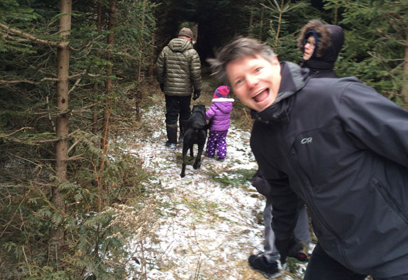 Marius with friends on a Christmas tree cutting expedition (2016).