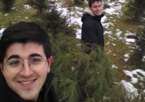 Cutting down the family Christmas tree!