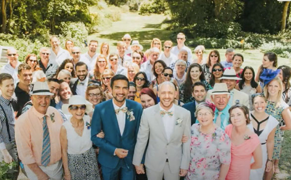 One of our favorite Wedding photos with all our family and friends who attended our weddin
