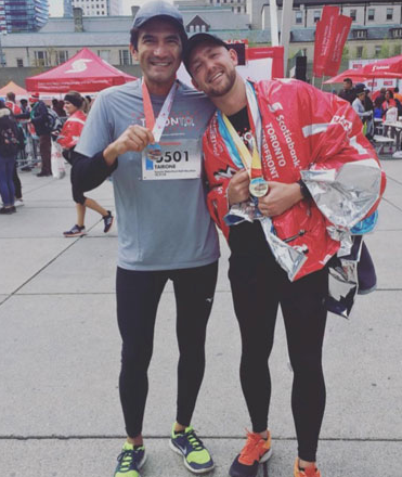 Minutes after we finished the Scotiabank Marathon in Toronto in 2017