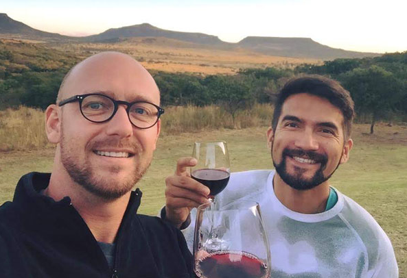 Enjoying a glass of wine after a Game Safari in the North of South Africa.