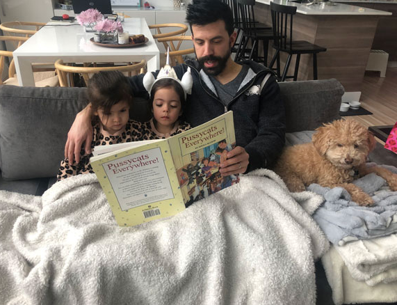 Reading to the nieces at a sleepover