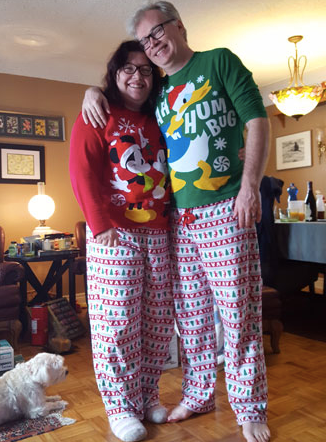 Dan & Jenn in their Christmas PJs