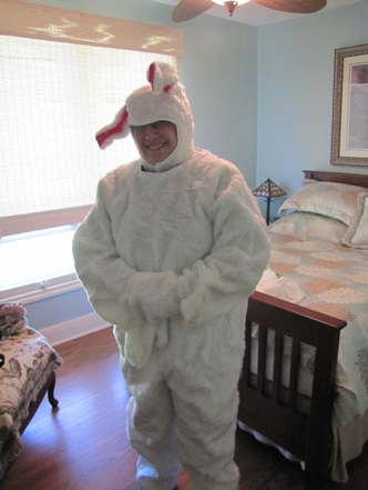 Dan getting ready to play the Easter Bunny