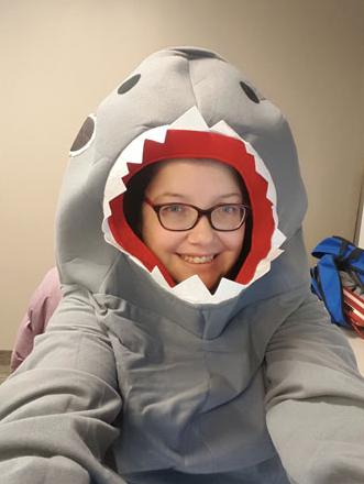 Jenn as a Shark for Halloween at work