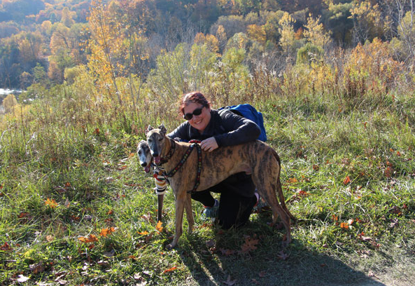 Jenn hiking with our dogs