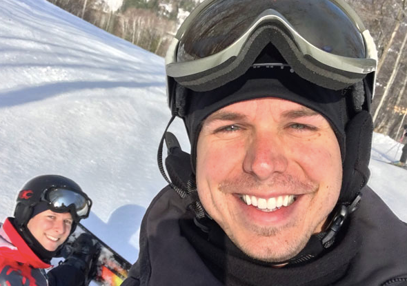 We love skiing in the winter.