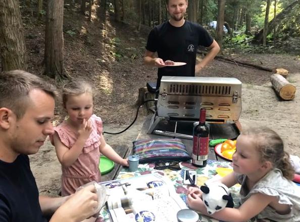 Camping at Sandbanks with Graham's nieces.