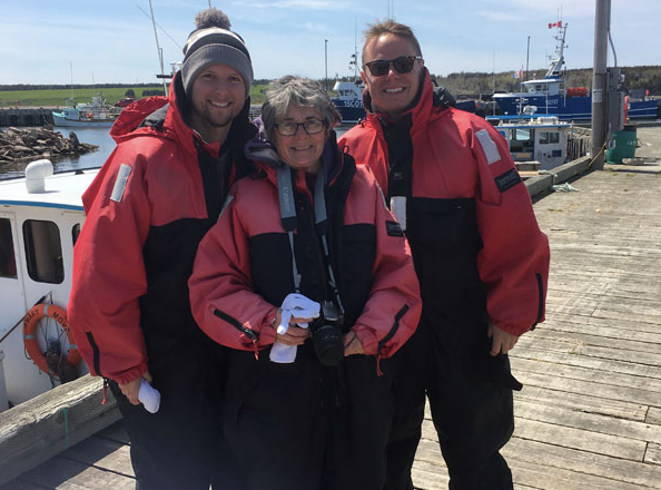 Whale-watching in Nova Scotia with Graham's mom.