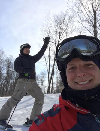 Having fun on the ski hill.