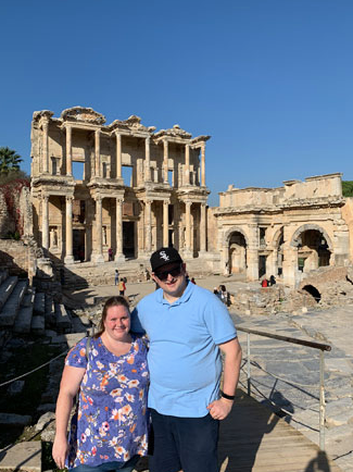 Visiting ancient ruins in Turkey.
