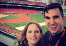 Visiting Fenway Park during a trip to Boston.