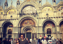 Fresh off the plane in Venice on our honeymoon.