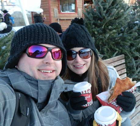 Enjoying a beaver tail and hot chocolate after skating the canal in Ottawa!