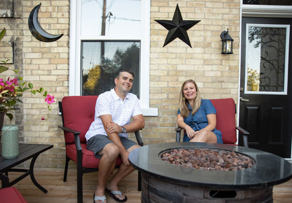 Having some laughs on our front porch!